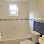 2nd bathroom, beautiful blue and white decor