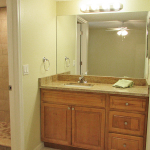 Master bathroom with granite countertop